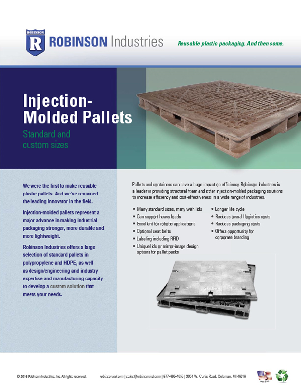 injection molded pallet sellsheet